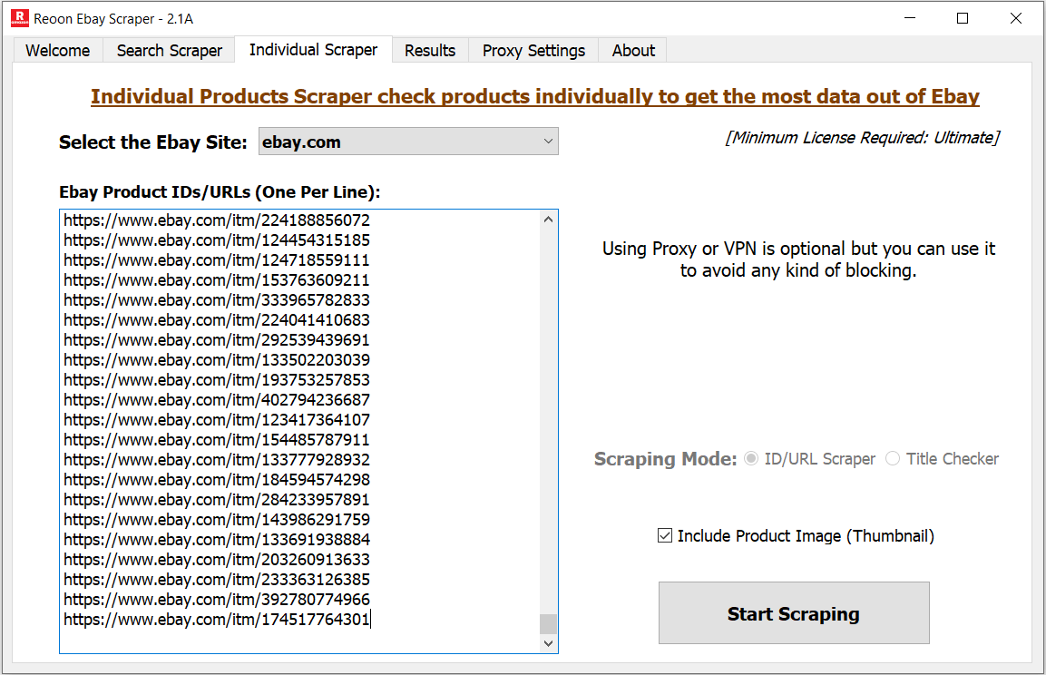 Reoon Ebay Scraper - Individual Products Scraper