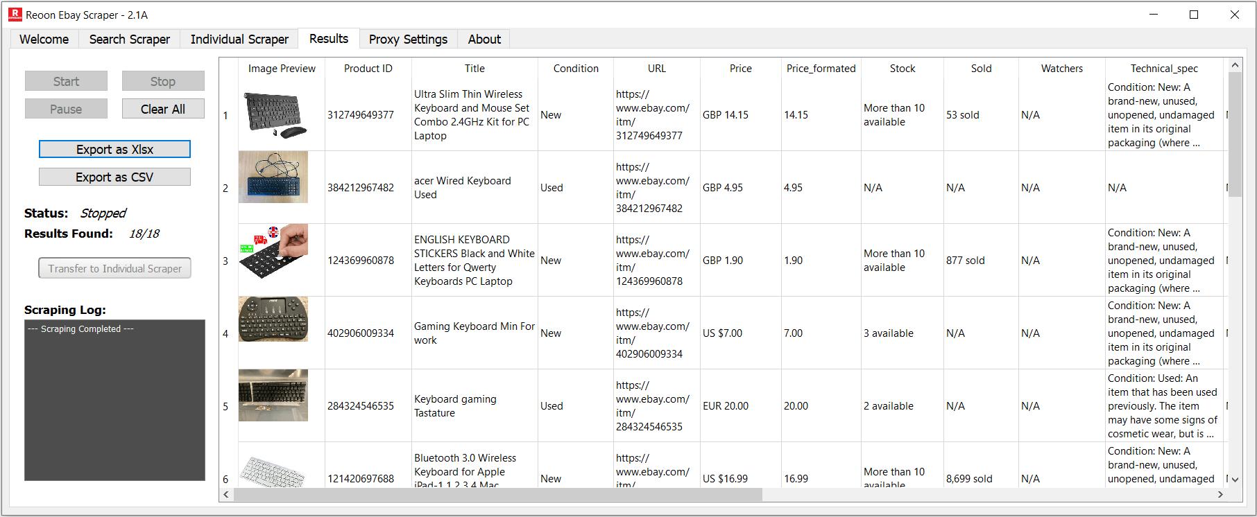 Reoon Ebay Scraper - Products Scraper Results