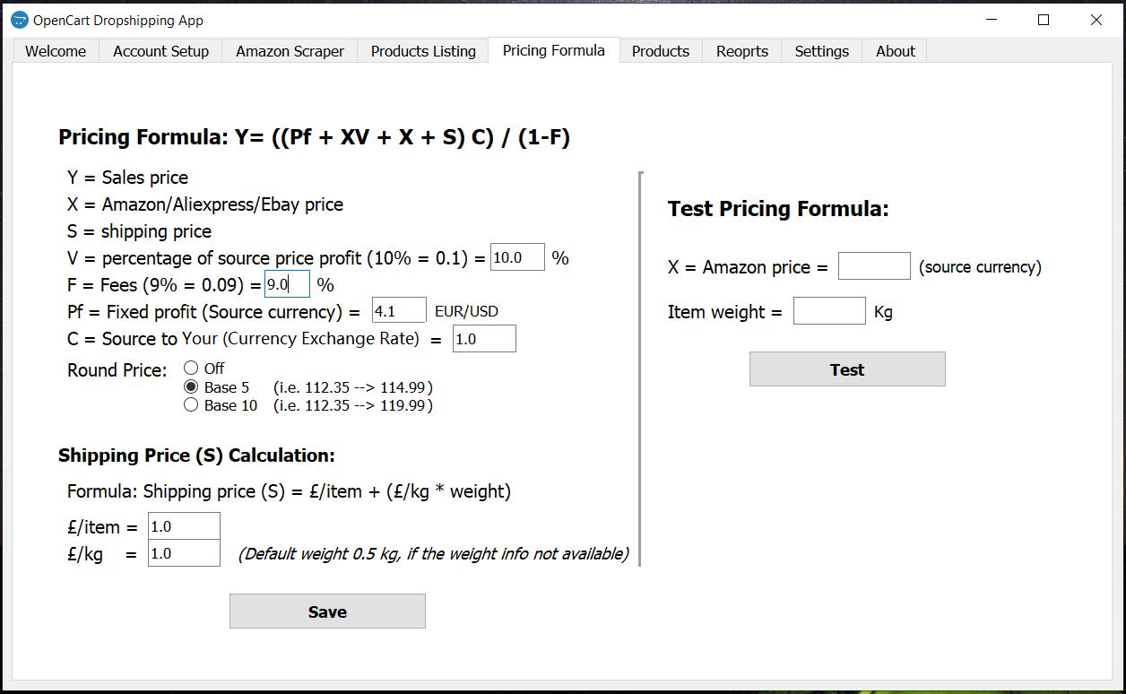 opencart dropship pricing formula